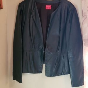Elle pleather green coat with damage from hangers